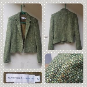 Vtg 90s Green Tweed Blazer{Garfield Marks}